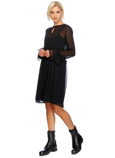 Black Pepper Şifon Elbise Siyah